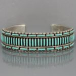 Zuni Turquoise Needlepoint and Silver Bracelet by Calvin Eustace 1